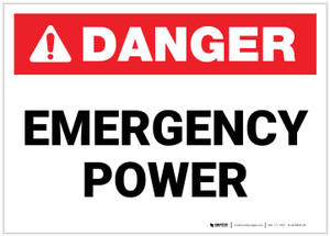 Danger: Emergency Power Landscape ANSI - Label