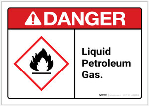 Danger: Liquid petroleum gas Landscape ANSI - Label