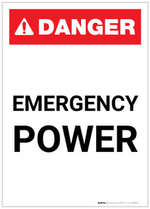 Danger: Emergency Power Portrait ANSI - Label