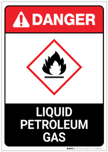 Danger: Liquid Petroleum Gas Portrait ANSI - Label