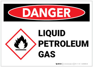 Danger: Liquid Petroleum Gas Landscape with Icon - Label