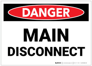 Danger: Main Disconnect Landscape - Label