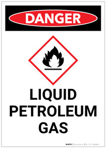 Danger: Liquid Petroleum Gas Portrait with Icon - Label