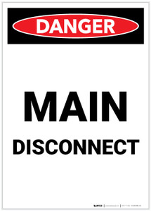 Danger: Main Disconnect Portrait - Label