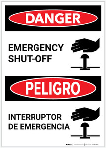 Danger: Bilingual Emergency Shut-Off with Icon Portrait - Label
