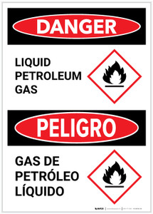 Danger: Bilingual Liquid Petroleum Gas with GHS Flammable Icon Portrait - Label
