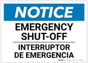 Notice: Bilingual Emergency Shut-off Landscape - Label