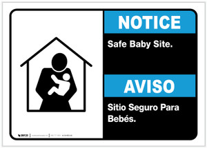 Notice: Bilingual Safe Baby Site Landscape - Label