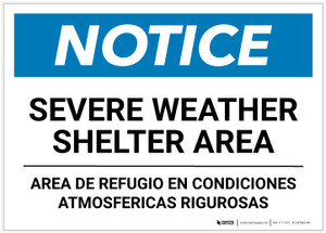 Notice: Bilingual Severe Weather Shelter Area Landscape - Label