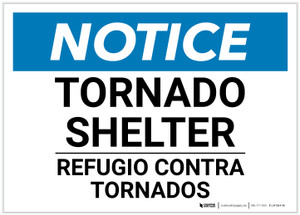 Notice: Bilingual Tornado Shelter Landscape - Label