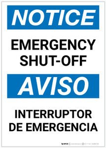 Notice: Bilingual Emergency Shut-off Portrait - Label