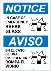 Notice: Bilingual In Case Of Emergency Break Glass with Icon Portrait - Label