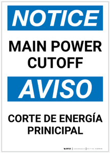 Notice: Bilingual Main Power Cut-off Portrait - Label
