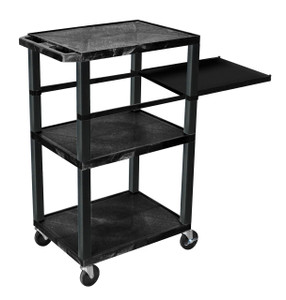 Luxor Tuffy Black 3 Shelf W/ Black Legs & Side Pull-out Shelf & Electric