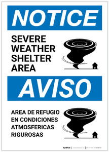 Notice: Bilingual Severe Weather Shelter Area with Icon Portrait - Label