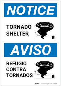 Notice: Bilingual Tornado Shelter with Icon Portrait - Label