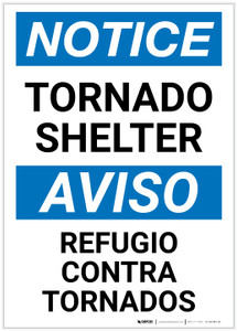 Notice: Bilingual Tornado Shelter Portrait - Label