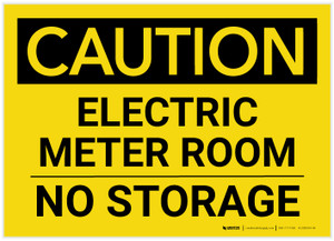 Caution: Electric Meter Room No Storage Landscape - Label