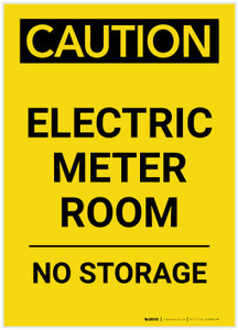 Caution: Electric Meter Room No Storage Portrait - Label