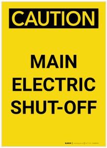 Caution: Main Electric Shut-Off Portrait - Label