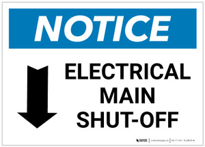 Notice: Electrical Main Shut-Off Landscape with Down Arrow - Label