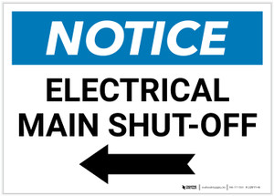 Notice: Electrical Main Shut-Off Landscape with Left Arrow - Label