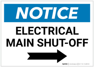 Notice: Electrical Main Shut-Off Landscape with Right Arrow - Label
