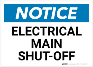 Notice: Electrical Main Shut-Off Landscape - Label