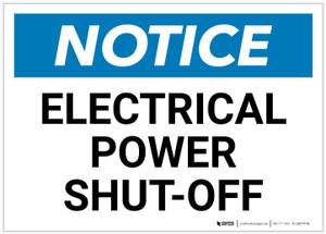 Notice: Electrical Power Shut-Off Landscape - Label