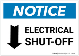 Notice: Electrical Shut-Off Landscape with Down Arrow - Label