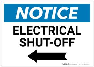 Notice: Electrical Shut-Off Landscape with Left Arrow - Label
