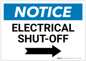 Notice: Electrical Shut-Off Landscape with Right Arrow - Label