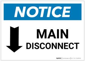 Notice: Main Disconnect Landscape with Down Arrow - Label