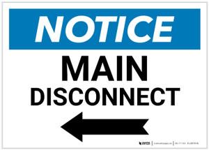 Notice: Main Disconnect Landscape with Left Arrow - Label