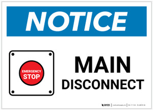 Notice: Main Disconnect Landscape with Emergency Stop Icon - Label
