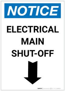 Notice: Electrical Main Shut-Off Portrait Down Arrow - Label