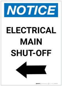 Notice: Electrical Main Shut-Off Portrait Left Arrow - Label