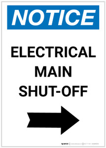 Notice: Electrical Main Shut-Off Portrait Right Arrow - Label