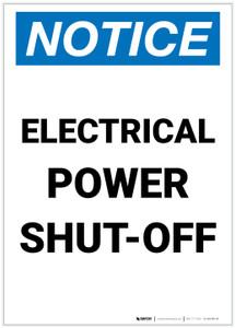 Notice: Electrical Power Shut-Off Portrait - Label