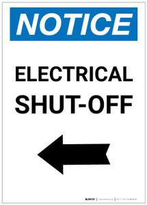 Notice: Electrical Shut-Off Portrait with Left Arrow - Label
