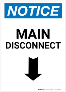 Notice: Main Disconnect Portrait with Down Arrow - Label