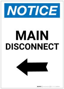 Notice: Main Disconnect Portrait with Left Arrow - Label