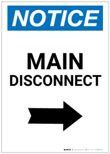 Notice: Main Disconnect Portrait with Right Arrow - Label