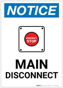 Notice: Main Disconnect Portrait with Emergency Stop Icon - Label