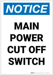 Notice: Main Power Cut Off Switch Portrait - Label