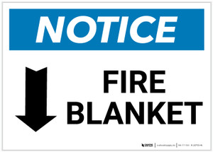 Notice: Fire Blanket with Down Arrow Landscape - Label