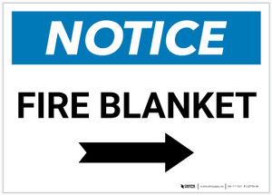 Notice: Fire Blanket with Right Arrow Landscape - Label
