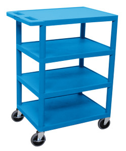 Luxor Four Flat Shelf Blue Utility Cart