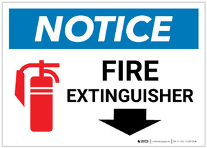 Notice: Fire Extinguisher with Down Arrow and Icon Landscape - Label
