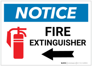 Notice: Fire Extinguisher with Left Arrow with Icon Landscape - Label
